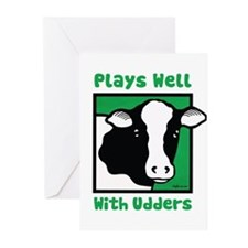 Plays Well With Udders Greeting Cards (Pk of 10)