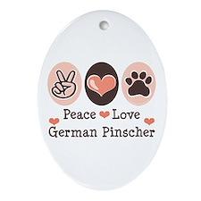 Peace Love German Pinscher Oval Ornament