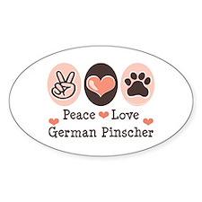 Peace Love German Pinscher Oval Decal