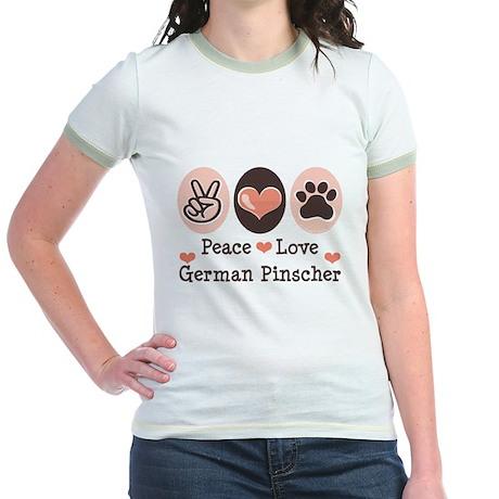 Peace Love German Pinscher Jr. Ringer T-Shirt