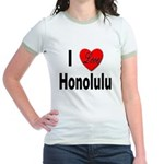 I Love Honolulu (Front) Jr. Ringer T-Shirt