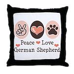 Peace Love German Shepherd Throw Pillow