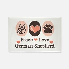 Peace Love German Shepherd Rectangle Magnet