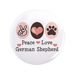 "Peace Love German Shepherd 3.5"" Button (100 pack)"