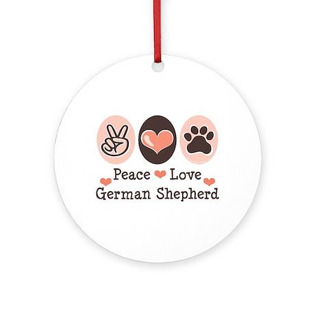 Peace Love German Shepherd Ornament (Round)