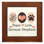 Peace Love German Shepherd Framed Tile