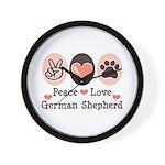 Peace Love German Shepherd Wall Clock