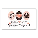 Peace Love German Shepherd Rectangle Sticker