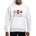 Peace Love German Shepherd Hooded Sweatshirt