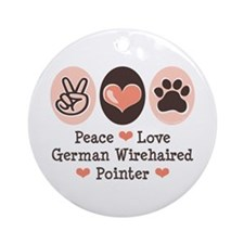Peace Love G Wirehaired Pointer Ornament (Round)