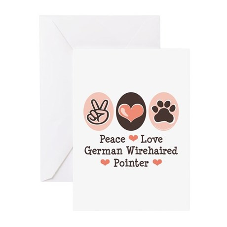 Peace Love G Wirehaired Pointer Greeting Cards (Pk