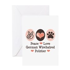 Peace Love G Wirehaired Pointer Greeting Card