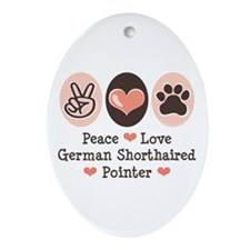 Peace Love G Shorthaired Pointer Oval Ornament