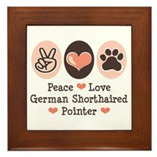 Peace Love G Shorthaired Pointer Framed Tile