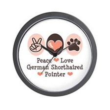 Peace Love G Shorthaired Pointer Wall Clock