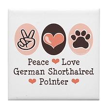 Peace Love G Shorthaired Pointer Tile Coaster