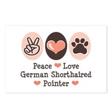 Peace Love G Shorthaired Pointer Postcards (Packag