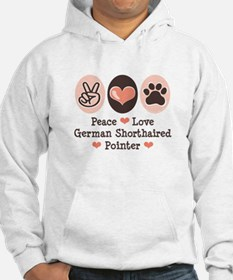 Peace Love G Shorthaired Pointer Hoodie