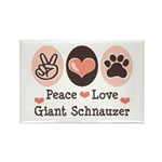 Peace Love Giant Schnauzer Rectangle Magnet