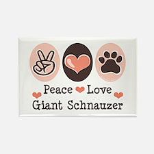 Peace Love Giant Schnauzer Rectangle Magnet
