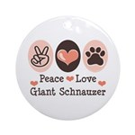 Peace Love Giant Schnauzer Ornament (Round)