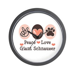 Peace Love Giant Schnauzer Wall Clock
