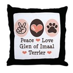 Peace Love Imaal Terrier Throw Pillow