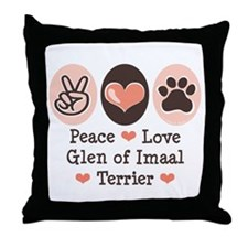 Peace Love Imaal Terrier Throw Pillow