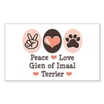 Peace Love Imaal Terrier Rectangle Sticker