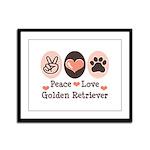 Peace Love Golden Retriever Framed Panel Print