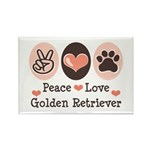 Peace Love Golden Retriever Rectangle Magnet