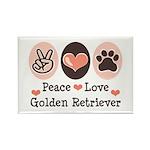 Peace Love Golden Retriever Rectangle Magnet (10 p