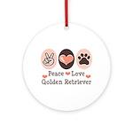 Peace Love Golden Retriever Ornament (Round)