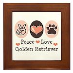 Peace Love Golden Retriever Framed Tile