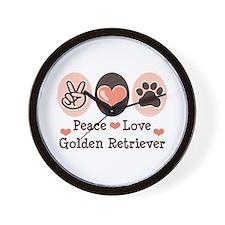Peace Love Golden Retriever Wall Clock