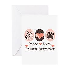 Peace Love Golden Retriever Greeting Card