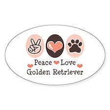 Peace Love Golden Retriever Oval Decal