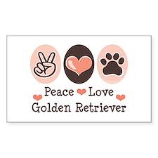 Peace Love Golden Retriever Rectangle Decal