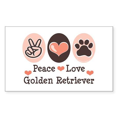 Peace Love Golden Retriever Rectangle Sticker