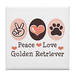 Peace Love Golden Retriever Tile Coaster