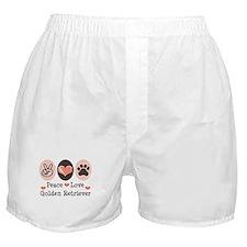 Peace Love Golden Retriever Boxer Shorts