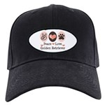 Peace Love Golden Retriever Black Cap