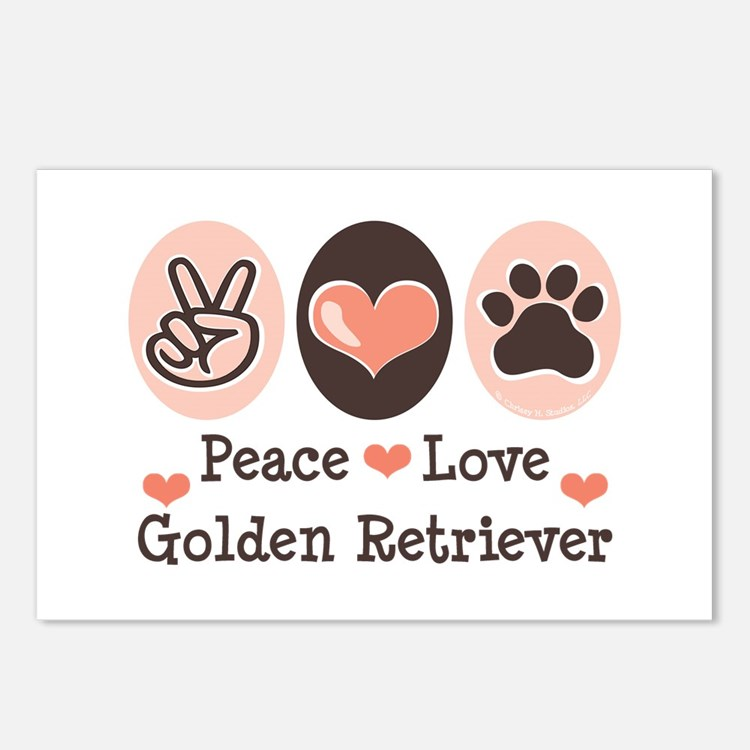 Peace Love Golden Retriever Postcards (Package of