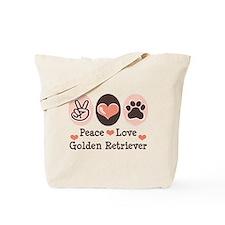 Peace Love Golden Retriever Tote Bag