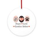 Peace Love Gordon Setter Ornament (Round)