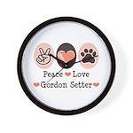 Peace Love Gordon Setter Wall Clock