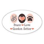 Peace Love Gordon Setter Oval Sticker