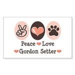 Peace Love Gordon Setter Rectangle Sticker