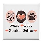 Peace Love Gordon Setter Tile Coaster