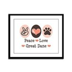 Peace Love Great Dane Framed Panel Print
